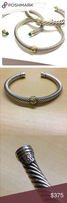 flash sale One-Station Bracelet w/ Gold 5mm Beautiful and very gently used cable cuff  bracelet in sterling silver with one 14k gold station.  No pouch or box.  Open to offers. David Yurman Jewelry Bracelets