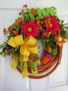 ORANGE GARDEN HOSE Wreath Spring Flower Pot Live by funflorals, $100.00