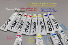 A basic collection of acrylic paints, by Peony and Parakeet