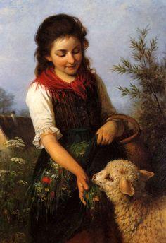 Peasant Girl Feeding The Lamb - German artist Rudolf Epp Sheep Paintings, Old Paintings, Paintings I Love, Beautiful Paintings, Sheep Art, Classic Paintings, Historical Art, Victorian Art, Art Pictures