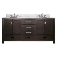 Avanity - Modero 72 Inch Vanity with Carrera White Marble Top And Double Sinks in Espresso Finish - MODERO-VS72-ES-C - Home Depot Canada