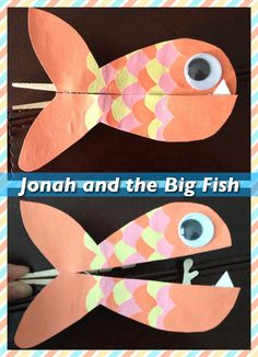 Jonah and the Big Fish clothespin craft. Used a clothespin, construction paper mounted onto cardboard, hot glue, and googly eyes. Could be used as a teaching tool for the Bible story about Jonah. Inspiration here: http://blogs.babycenter.com/life_and_home/clever-clothespin-crafts-youre-gonna-love-these/