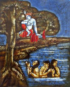 Vastra Haran by Naughty Krishna (Batik Painting on Cotton Cloth - Unframed))