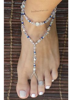 Anklet Jewelry Foot jewelry featuring genuine aurora borealis crystals, glass and silver plated beads. Beaded Foot Jewelry, Anklet Jewelry, Anklets, Body Jewelry, Diy Barefoot Sandals, Bare Foot Sandals, Foot Bracelet, Ankle Bracelets, Barefoot Wedding