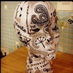 Decoupaged mannequin head