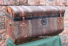 Antique Stagecoach Saratoga Steamer Travel Trunk Blanket Fashion Quilt Chest. $575.00, via Etsy.