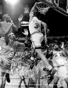 John Starks gets the Bulls' Horace Grant and the GOAT in his poster during a playoff game at Madison Square Garden in New York.