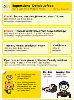 Easy to Learn Korean 911 - Expressions: Delicious Food. Chad Meyer and Moon-Jung Kim EasytoLearnKorean.com An Illustrated Guide to Korean