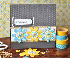 Washi tape Mother's day card by Ginger Williams for Queen and Company