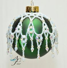 Left Handed Easy beaded ornament dripping with Swarovski bicones or Czech Fire Polished - Cathedral Windows - Left Hand PDF Beading Pattern - Beaded Christmas Decorations, Christmas Ornament Crafts, Christmas Tree Ornaments, Christmas Christmas, Beaded Ornament Covers, Beaded Ornaments, Diy Ornaments, Beaded Crafts, Beaded Jewelry Patterns