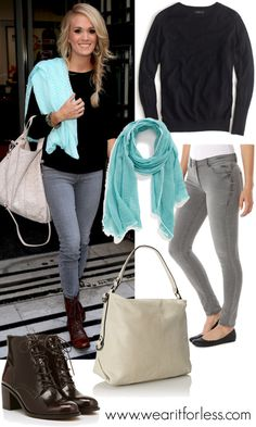 Carrie Underwood outside BBC Radio 2 in London in a black sweater, gray skinny jeans, lace up booties, and a scarf - get the look for less! www.wearitforless.com