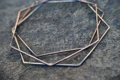 Hexagon Bangle set 2 Copper 1 Sterling Silver by nixydesigns, $25.00