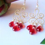 Queen In Red Earrings - $21