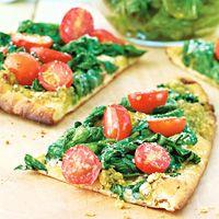 Pesto, Tomato, & Spinach Naan Pizza