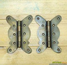 2 Cabinet door hinges ornamental nickel chrome finish chrome retro vintage 1950