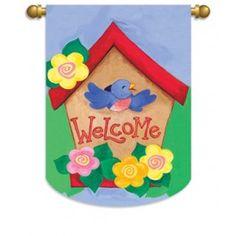 """Welcome Birdhouse"" Printed Seasonal Banner; Polyester 29""x42"" #springtime #springflowers #banner #flagsaflying"