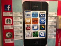 """There's an app for that"" residence life bulletin board showing useful apps for college students."