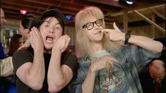 Waynes world, waynes world, party time excellent! Party On Garth, Wayne's World, Book Tv, Saturday Night Live, Thank God, Classic Movies, Great Movies, Make Me Smile, Party Time