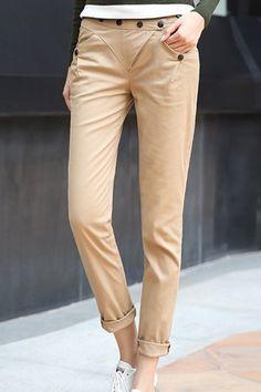 $13 Casual Slimming Solid Color Skinny Pants For Women Pants | RoseGal.com Mobile