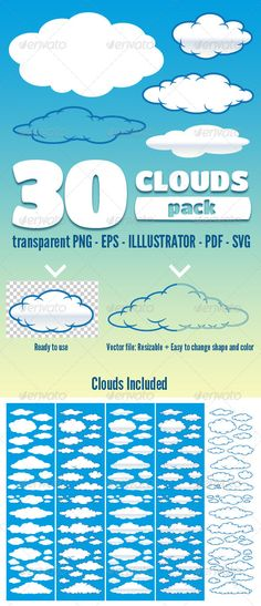 VECTOR DOWNLOAD (.ai, .psd) :: http://vector-graphic.de/pinterest-itmid-1004425202i.html ... 30 Clouds - Pack ...  animation ready, blue, cartoon, clouds, cloudscape, cloudy, float, illustration, nature, puffy, sky, white  ... Vectors Graphics Design Illustration Isolated Vector Templates Textures Stock Business Realistic eCommerce Wordpress Infographics Element Print Webdesign ... DOWNLOAD :: http://vector-graphic.de/pinterest-itmid-1004425202i.html