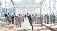 Makennah and Seth with their Bridal Party at The Bridge Building | Wedding Venue | Event Space | Nashville | Event Planner | Event Planning Business | Wedding Reception | Bride | Groom