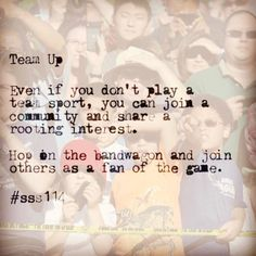 Join in. Support the home team. Be a fan! #sss114