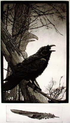 The Gift - Larry Vienneau. 2 plate intaglio  I love the silhouette of the Raven perched calling out to the Murder.