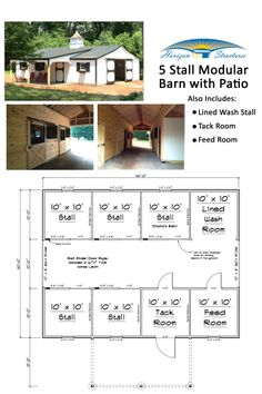 30x40 5 stall modular barn with lots of extras!  Priced at about $33k.  Delivered in pre-built sections, our crew has it ready for your horses in about 3 days.  Visit our website to request a quote online.
