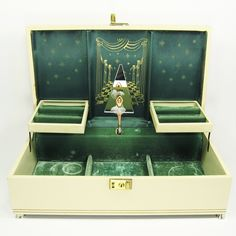 Vintage Cream And Antique Gold Ballerina Musical Jewelry Box - 70s
