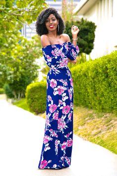 Floral Off Shoulder Maxi Dress Diy Fashion, Fashion Looks, Fashion Outfits, Fashion Design, Fashion Trends, Womens Fashion, Classy Outfits, Trendy Outfits, Cute Outfits