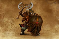 Armed with huge shields reminiscent of fortress walls, they provide a formidable obstacle to any opponent. Fantasy Dwarf, Fantasy Rpg, Medieval Fantasy, The Elder Scrolls, Dungeons And Dragons Characters, Fantasy Characters, Character Concept, Character Art, Fire Crown