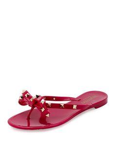 4a523ece437a Valentino Garavani Rockstud PVC Flat Thong Sandals