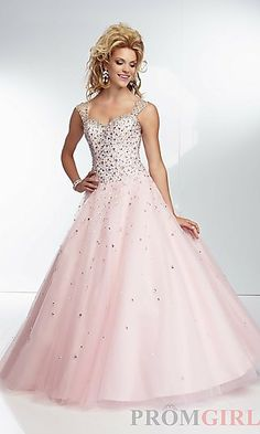 Long Beaded Sweetheart Ball Gown at PromGirl.com
