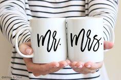 Mr and Mrs Coffee Mugs Mr and Mrs Mugs Set of 2 by WillowAndOlive