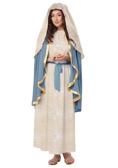 Bad this is why womens outfits must be fitted even though its join the nativity in our virgin mary costume for women featuring a long off white robe attached cape and headpiece adult virgin mary costume is perfect solutioingenieria Image collections