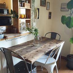 DIY,賃貸,足場板,連投すみません!,アイアン脚テーブル,サビ好き部,ダイニングテーブル,Lounge Tomoの部屋