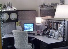 Gold office decor Black and gold cubicle office decorating