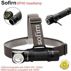 POWERFUL SP40 LED Headlamp Cree XPL 1200lm 18650 USB Rechargeable Headlight Save this photo on your board if you ❤️ it. Usb, 18650 Battery, Led Headlights, Strobing, Aluminium Alloy, Flashlight, How To Memorize Things, Lens, Color Temperature