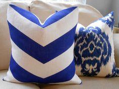 Chevron Burlap Pillow Cover in Off White & Cobalt Blue  20x20