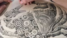 Timelapse: A project inspired by old biological studies. It's composed of 10 original crustacean drawings, half shells, half mechanics. These new drawings are entirely done with 0.13mm Rotring on homemade paper colored with tea to give them an ancient and authentic look.