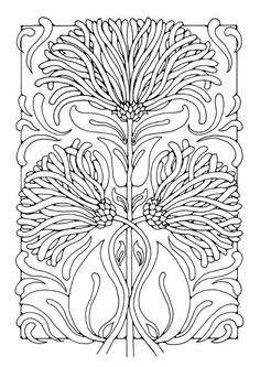 Super art nouveau pattern ideas coloring pages Ideas Motifs Art Nouveau, Design Art Nouveau, Art Nouveau Pattern, Free Coloring Sheets, Coloring Book Pages, Pattern Coloring Pages, Illustration Papillon, Jugendstil Design, Flower Pattern Design