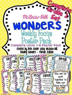 UPDATED 5/4/2015 TO ADD A PHONICS/SPELLING POSTER TO EACH WEEK!This download is for the COMPLETE UNITS 1-6 SET of my First Grade Weekly Focus Poster Packs for the McGraw-Hill Wonders Series! I have had many requests to make one nice and neat download with all 6 units included, so here it is - all 248 pages!