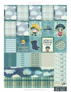 Grab these super adorable rainy day free printable planner stickers and brighten up your planner on a cloudy, rainy day! April showers bring May flowers, and these adorable stickers will bring a smile to your face! Mini Happy Planner, Free Planner, Planner Pages, Planner Ideas, Planners, Printable Planner Stickers, Journal Stickers, Free Printables, Bullet Journal