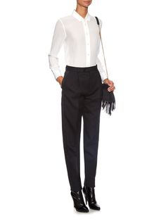 High-waisted carrot-leg wool trousers | Saint Laurent | MATCHESFASHION.COM