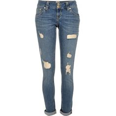 River Island Mid wash distressed Matilda skinny jeans ($84) ❤ liked on Polyvore featuring jeans, pants, bottoms, skinny jeans, women, low rise jeans, super skinny jeans, skinny leg jeans and blue jeans