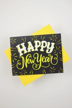 Happy new year one card with a yellow envelope by HowjoyfulShop