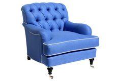 Somerset Tufted Chair, Blue Linen