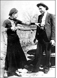 Bonnie and Clyde were bank robbers during the 1920s. This picture shows them before their famous bank robbery. (Ben-Declan NRMS)