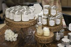 In this display we are using cake plates in various sizes and height to add visual interest. Notice how the small samplers invite you in. waxingkara.com
