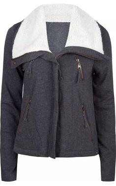 Euc Billabong Juniors Womens Jojo zip-up Coat Jacket Sweater Sherpa S Gray Moto    eBay